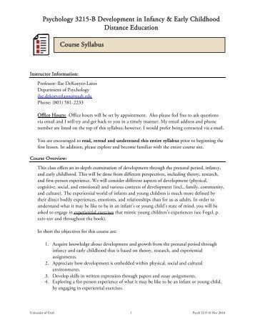 Psychology 3215-B Development in Infancy & Early Childhood ...