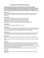 Cary Academy Class of 2010 Merit Scholarships