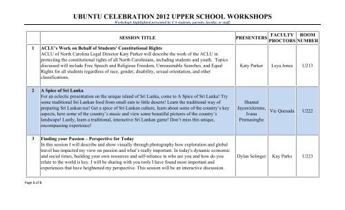 US Workshops - Cary Academy