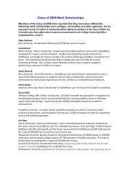 Class of 2009 Merit Scholarships - Cary Academy