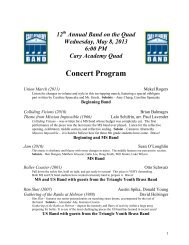 Concert Program - Cary Academy