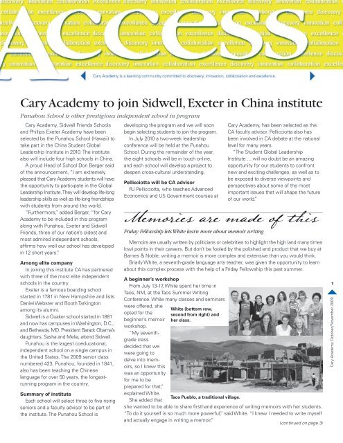 Cary Academy to join Sidwell, Exeter in China institute