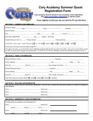 Registration Form - Cary Academy