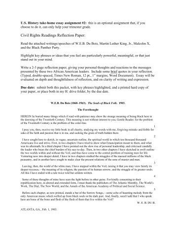 Civil Rights Readings Reflection Paper: - Cary Academy