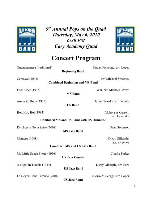Concert and Awards Program - Cary Academy