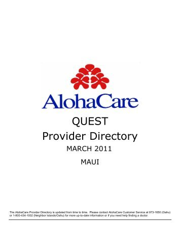 QUEST Provider Directory - AlohaCare