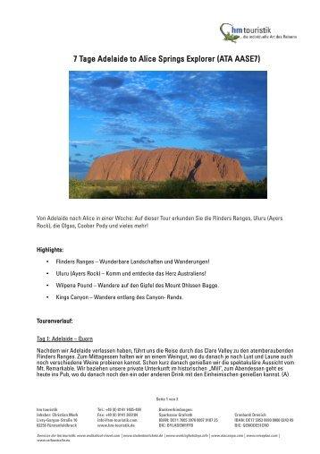7 Tage Adelaide to Alice Springs Explorer (ATA AASE7) - HM Touristik
