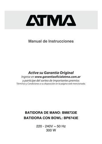 Manual Batidoras BM8733E BP8743E - Atma