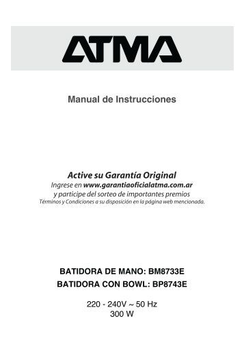 Manual Batidoras BM8733E BP8743E - Atma