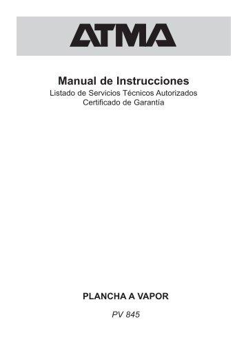 PLANCHA A VAPOR PV 845 Manual de Instrucciones - Atma