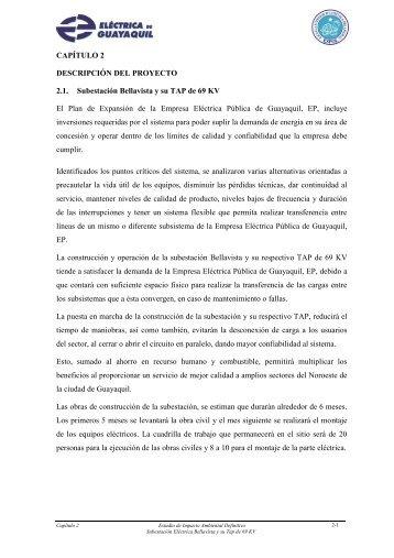 CAPÍTULO 2 DESCRIPCIÓN DEL PROYECTO 2.1 ... - CONELEC