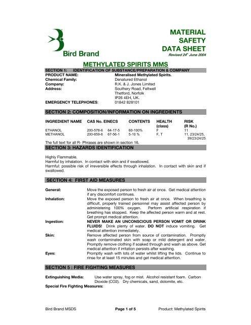 Methylated Spirits - Bird Brand