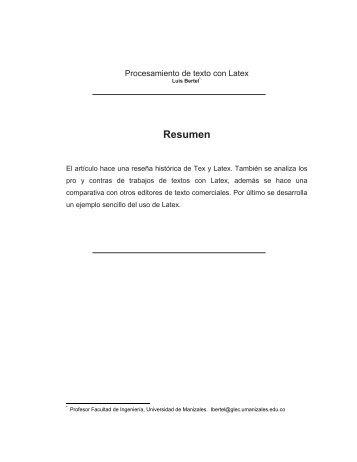 Procesamiento de texto con Latex - Universidad de Manizales