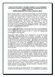 convocatoria para el volumen 8 numero 2 _jul. dic. 2010