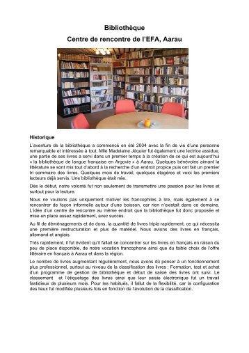 Bibliothèque Centre de rencontre de l'EFA, Aarau - Eglise réformée ...