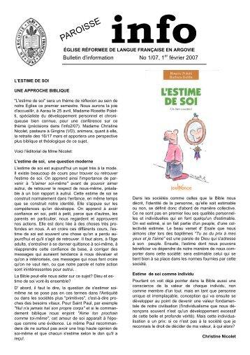 Editorial janvier 2007 - Eglise réformée de langue française en ...