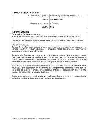 Materiales y Procesos Constructivos - Instituto Tecnológico de ...