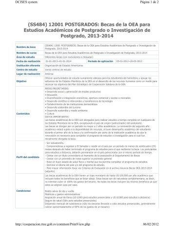 (SS484) 12001 POSTGRADOS: Becas de la OEA para Estudios ...