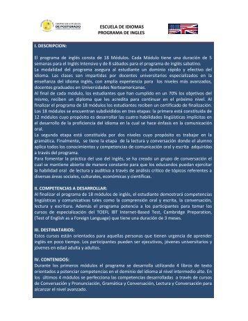 ESCUELA DE IDIOMAS PROGRAMA DE INGLES I. DESCRIPCION ...