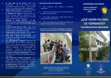 ¿QUÉ HACER EN CASO DE TERREMOTO? - Universidad Don Bosco