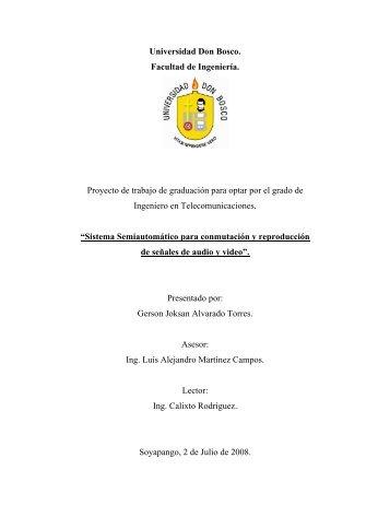 Universidad Don Bosco. Facultad de Ingeniería. Proyecto de trabajo ...