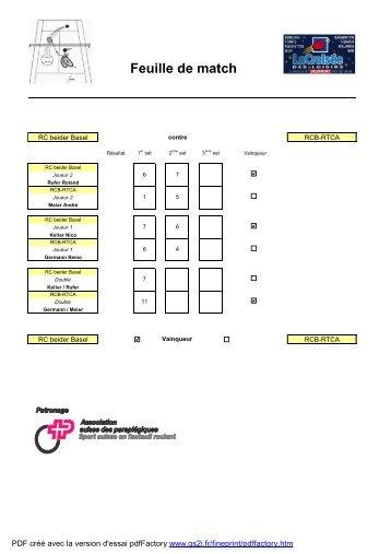 Feuille de match - Ligue C - RTCA