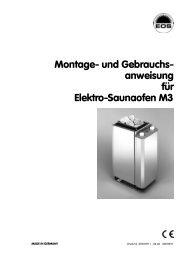 Montage- und Gebrauchs- anweisung für Elektro-Saunaofen M3