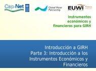 Instrumentos económicos y financieros para GIRH - Cap-Net