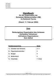Handbuch für die Organisation der Schweizer ... - Tennis Schweiz