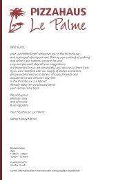 """Dear Guest, your """"Le-Palme-Team"""" welcomes you in the ..."""