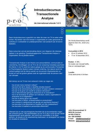 Introductiecursus Transactionele Analyse - P.R.O. Consult