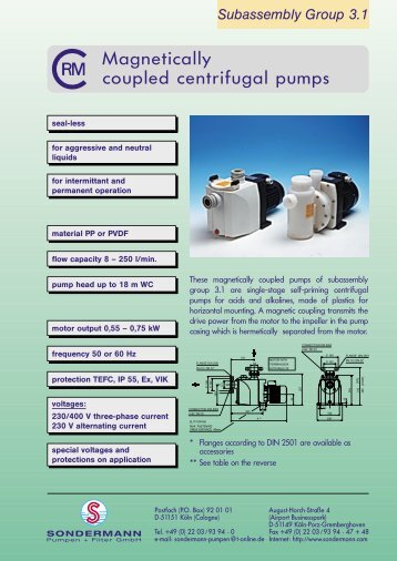 Magnetically coupled centrifugal pumps - Hydrolit