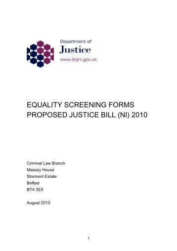 equality screening forms proposed justice bill (ni) 2010