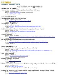 Paid Summer 2010 Opportunities - UC Davis / Internship and Career ...