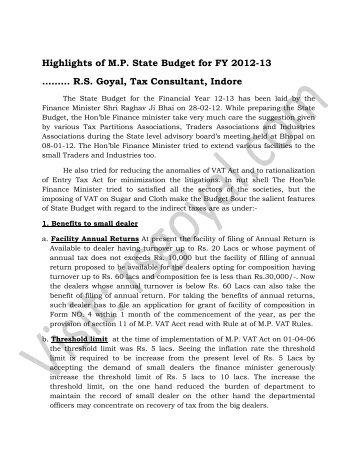 Highlights of MP State Budget for FY 2012-13 - RS Goyal & Associates