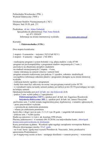 Dziekanat Studiów Niestacjonarnych: ( NZ ) - Wydział Elektryczny