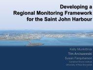 Developing a Regional Monitoring Framework for the Saint John ...