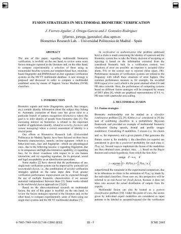FUSION STRATEGIES IN MULTIMODAL BIOMETRIC VERIFICATION