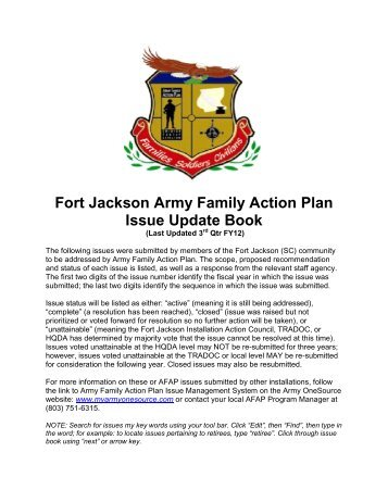Fort Jackson Army Family Action Plan Issue Update Book