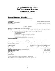 2008 Annual Report - St. Stephen's Episcopal Church
