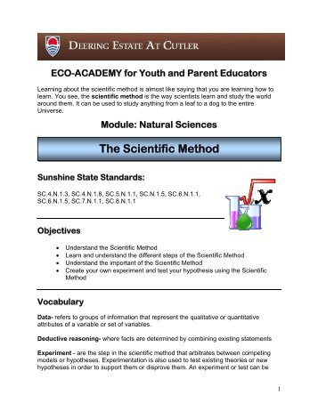The Scientific Method Lesson Plan - Deering Estate at Cutler