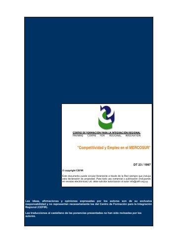 """""""Competitividad y Empleo en el MERCOSUR"""" - CEFIR"""