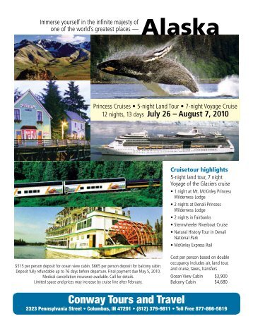 Alaska Land and Cruise - Conway Tours in Columbus, Indiana