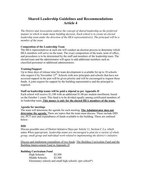 Shared Leadership Fact Sheet - Highline Education Association