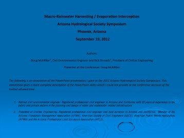 With Macro-Rainwater Harvesting - Arizona Hydrological Society