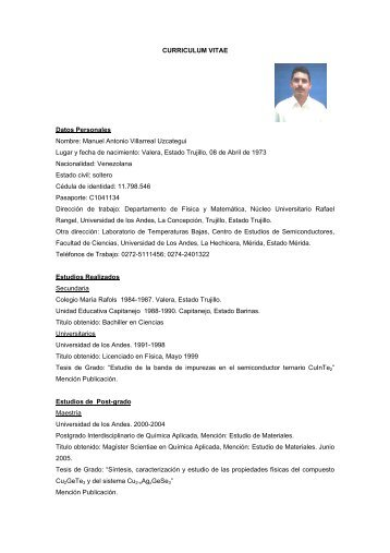 CURRICULUM VITAE Datos Personales ... - Ecotropicos - ULA