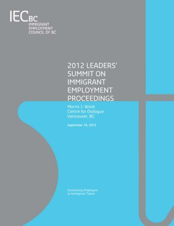 Proceedings - Immigrant Employment Council of BC