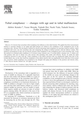 Tubal compliance — changes with age and in tubal malfunction