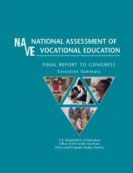 National Assessment of Vocational Education - U.S. Department of ...