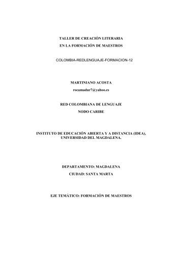 TALLER DE CREACIÓN LITERARIA EN LA FORMACIÓN DE ...